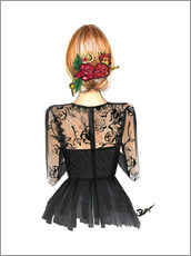 Wall sticker  Black Lace and Rose - Rongrong DeVoe