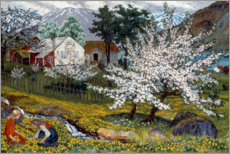 Premium poster  Flowering apple tree, Strømsbo farm - Nikolai Astrup