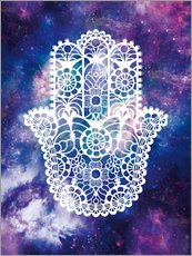 Wall Stickers  Floral Hamsa Hand Space floral art print - Nory Glory Prints