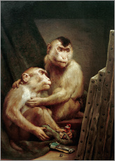 Wall sticker  The art critic - two monkeys look at a painting - Gabriel von Max
