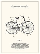 Wall sticker  Vintage parts of a bicycle anatomy - Nory Glory Prints