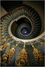 Gallery print  Ornamented spiral staircase in green and yellow - Jaroslaw Blaminsky