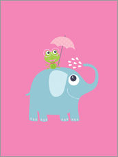 Gallery print  One frog and one elephant pink - Jaysanstudio