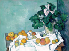 Canvas print  Still Life with Apples and a Pot of Primroses - Paul Cézanne