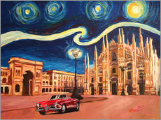 Wall sticker  Starry Night in Milan Italy Oldtimer and Cathedral - M. Bleichner
