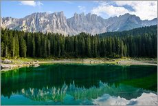 Wall sticker  Panoramic view of karersee with Latemar mountain range, Dolomites, Italy - Peter Wey