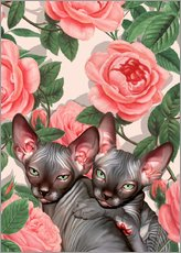 Wall sticker Sphynx kitten with roses