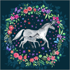Wall sticker  Mama and Baby Unicorn - Micklyn Le Feuvre
