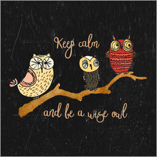 Wall sticker  Keep calm and be a wise owl - UtArt
