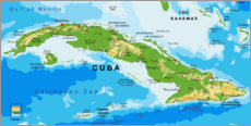 Wood print  Map of Cuba