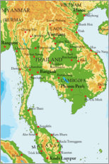 Premium poster Map of Thailand