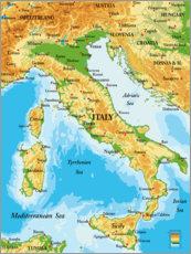 Canvas print  Map of Italy