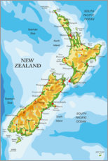 Wood print  Map of New Zealand