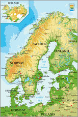Wall sticker Map of Scandinavia