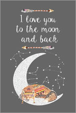 Wall sticker  I love you to the moon and back - GreenNest