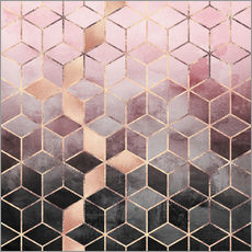 Gallery print  Pink And Grey Gradient Cubes - Elisabeth Fredriksson