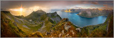 Gallery print  Panoramic View from Husfjellet Mountain on Senja Island during Sunset, Noway - Markus Ulrich