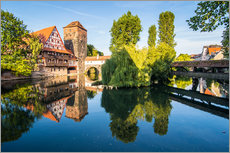 Gallery print  Old timbered houses and hanging tower, Nuremberg, Middle Franconia, Bavaria, Germany, Europe - Michael Runkel
