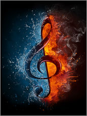 Wall sticker  Fire and water music
