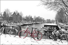 Gallery print  Red bicycle in the snow - George Pachantouris