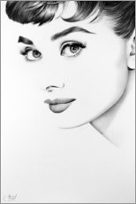 Wood print  Audrey Hepburn - Ileana Hunter