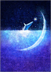 Wall sticker Blue whale and crescent