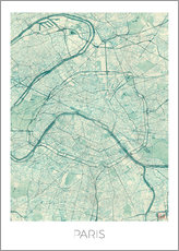 Wall sticker  Paris Map, Blue - Hubert Roguski
