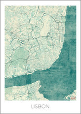 Gallery Print  Lisbon Map Blue - Hubert Roguski