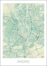Wall sticker  Map of Madrid, blue - Hubert Roguski