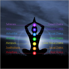 Wall sticker  Chakras with silhouette