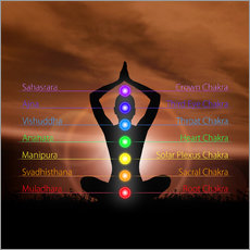 Wall sticker  Chakras in evening sky