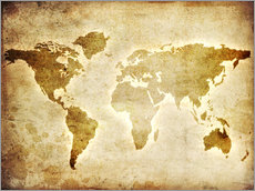 Gallery print  Vintage world map