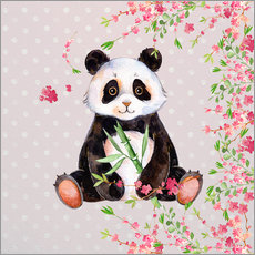 Wall sticker Little panda bear with bamboo and cherry blossoms