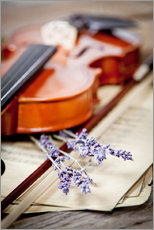 Gallery print  Vintage composition with violin and lavender