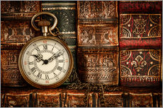 Wall sticker  Clock in front of books