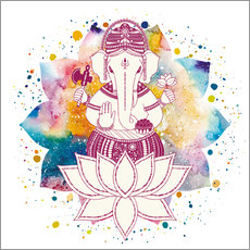 Wall sticker  Ganesha in watercolors