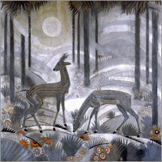 Wall Sticker  Two deer in the woods - Jean Dunand