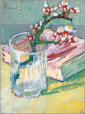 Gallery print  Flowering almond branch in a glass with a book - Vincent van Gogh
