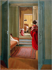 Wall sticker  Interior with woman in red - Felix Edouard Vallotton