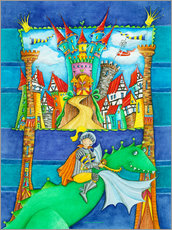 Wall sticker  Knights Dragon and the Knight's Castle - Atelier BuntePunkt