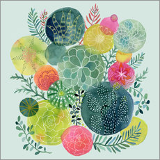 Wall Stickers  cactus circles - Janet Broxon