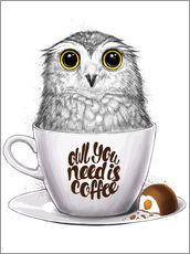 Wall sticker  Owl you need is coffee - Nikita Korenkov