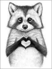 Wood print  Raccoon with heart - Nikita Korenkov