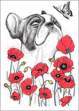 Wall sticker  Pug in flowers - Nikita Korenkov