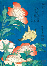 Wall sticker  Flowers and a bird - Katsushika Hokusai