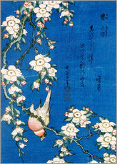 Wall sticker  Bullfinch and weeping cherry - Katsushika Hokusai