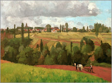 Wall sticker  Landscape with Peasant Ploughing - Camille Pissarro