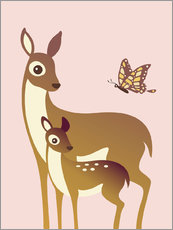 Wall Sticker  Mom And Baby Deer With Butterfly - Ashley Verkamp