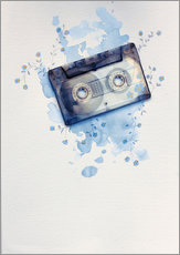 Wall sticker  Music tape with flowers and watercolour wash - Sybille Sterk