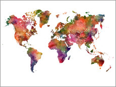 Wall sticker  Colourful world map - Dani Wijeyesinghe